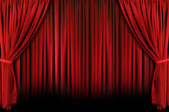 δραματικό θέατρο σκιών drapes ανοικτό κόκκινο Στοκ εικόνα με δικαίωμα ελεύθερης χρήσης