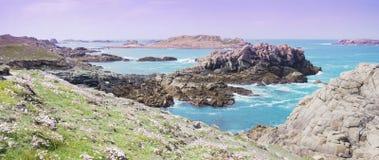 Δραματικό τοπίο των νησιών Scilly, Αγγλία, UK, πανόραμα Στοκ Εικόνες