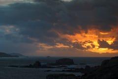 Δραματικό Skyes στην εκβολή Γαλικία Ισπανία Ares Στοκ φωτογραφία με δικαίωμα ελεύθερης χρήσης