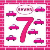 Δραστηριότητα για τα προσχολικά παιδιά αριθμοί εκμάθησης Εκπαιδευτική κάρτα με τον αριθμό 7 επτά με το αυτοκίνητο ελεύθερη απεικόνιση δικαιώματος