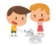 Δραστηριότητα κατσικιών Δόσιμο ενός κόκκαλου στο σκυλί Στοκ φωτογραφία με δικαίωμα ελεύθερης χρήσης