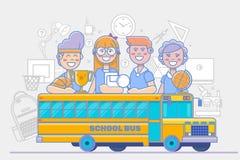 Δραστηριότητες παιδιών σχολείου γραμμική αφίσα εκπαίδευσης που απομονώνεται στο άσπρο υπόβαθρο ελεύθερη απεικόνιση δικαιώματος
