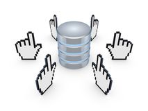 Δρομείς γύρω από το σύμβολο της βάσης δεδομένων. Στοκ φωτογραφίες με δικαίωμα ελεύθερης χρήσης