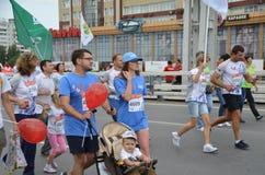 Δρομείς μαραθωνίου στη δράση στο σιβηρικό διεθνή μαραθώνιο Στοκ Φωτογραφίες