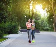 Δρομείς που εκπαιδεύουν υπαίθρια να επιλύσει στο πάρκο Στοκ Εικόνες
