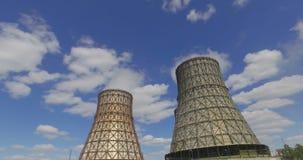Δροσίζοντας πύργος του φυτού πυρηνικής ενέργειας απόθεμα βίντεο