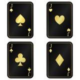 Δροσίστε τέσσερις κάρτες γρύλων Ο Μαύρος με τις χρυσές κάρτες στοκ εικόνα με δικαίωμα ελεύθερης χρήσης