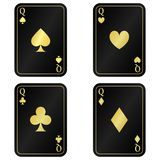 Δροσίστε το σύνολο τέσσερα μαύρη κάρτα βασιλισσών με το χρυσό στοκ φωτογραφία με δικαίωμα ελεύθερης χρήσης