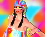 Δροσίστε hipster τη γυναίκα σπουδαστών που φορά το ζωηρόχρωμο καπέλο και τη μόδα makeup απεικόνιση αποθεμάτων