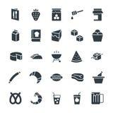 Δροσερά διανυσματικά εικονίδια 8 τροφίμων Στοκ εικόνα με δικαίωμα ελεύθερης χρήσης