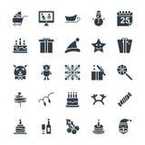 Δροσερά διανυσματικά εικονίδια 4 Χριστουγέννων Στοκ Φωτογραφία
