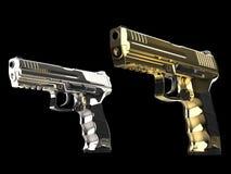 Δροσερά χρυσά και ασημένια σύγχρονα ημι αυτόματα πυροβόλα όπλα ελεύθερη απεικόνιση δικαιώματος