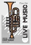 Δροσερή αφίσα μουσικής γεγονότος τέχνης γραμμών Minimalistic ζωντανής μουσικής διάνυσμα Στοκ Εικόνα
