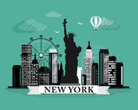 Δροσερή γραφική αφίσα οριζόντων πόλεων της Νέας Υόρκης με τα αναδρομικά κοίταγμα λεπτομερή στοιχεία σχεδίου Τοπίο της Νέας Υόρκης απεικόνιση αποθεμάτων