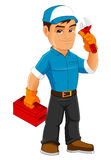 Δροσερή μασκότ Handyman στοκ εικόνα με δικαίωμα ελεύθερης χρήσης