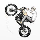 Δροσερή οδηγώντας μοτοσικλέτα αγοριών απεικόνιση αποθεμάτων