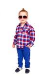 Δροσερή τοποθέτηση μικρών παιδιών στο άσπρο υπόβαθρο Στοκ Φωτογραφία