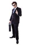 Δροσερός επιχειρηματίας με τη μαύρη βαλίτσα Στοκ Φωτογραφία
