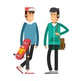 Δροσερός διανυσματικός χαρακτήρας ατόμων hipster με τη γενειάδα και το take-$l*away καφέ Στοκ εικόνα με δικαίωμα ελεύθερης χρήσης