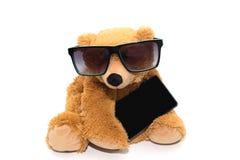 Δροσερός teddy αντέχει στα γυαλιά ηλίου με το τηλέφωνο που απομονώνεται Στοκ Φωτογραφίες