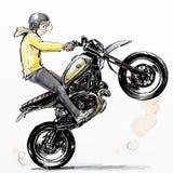 Δροσερό αγόρι που οδηγά την ακραία μοτοσικλέτα απεικόνιση αποθεμάτων