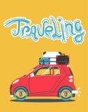 Δροσερό διανυσματικό σύγχρονο αναδρομικό κόκκινο αυτοκίνητο με τις αποσκευές βαλιτσών στο ράφι στεγών Στοκ Εικόνες