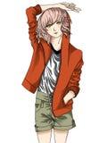 Δροσερό κορίτσι Anime Στοκ εικόνες με δικαίωμα ελεύθερης χρήσης