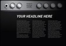 Δροσερό πρότυπο αφισών θέματος μουσικής με το κουμπί όγκου ενισχυτών στοκ εικόνες