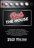 Δροσερό πρότυπο αφισών συναυλίας μουσικής ροκ με το κουμπί ενισχυτών ελεύθερη απεικόνιση δικαιώματος