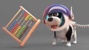 Δροσερό σκυλί κουταβιών στη φόρμα αστροναύτη που εξετάζει έναν άβακα που επιπλέει σε μηά βαρύτητα, τρισδιάστατη απεικόνιση απεικόνιση αποθεμάτων