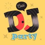 Δροσερό σχέδιο αφισών κόμματος του DJ με τη βινυλίου απεικόνιση αρχείων και το Γ Στοκ φωτογραφίες με δικαίωμα ελεύθερης χρήσης