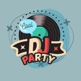 Δροσερό σχέδιο αφισών κόμματος του DJ με τη βινυλίου απεικόνιση αρχείων Στοκ Εικόνες