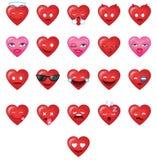 Δροσερό σύνολο 1 Emoticons μορφών καρδιών διανυσματική απεικόνιση