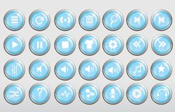 Δροσερό τρισδιάστατο μπλε κουμπί μουσικής στιλπνό Στοκ Εικόνα