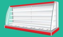 Δροσισμένες βασιλοπρεπείς ραφιών ψυγείων τοίχων επιδείξεις προθηκών γραφείου κενές κενές Στοκ φωτογραφία με δικαίωμα ελεύθερης χρήσης