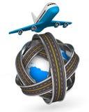 Δρόμοι γύρω από τη σφαίρα και το αεροπλάνο στην άσπρη ανασκόπηση ελεύθερη απεικόνιση δικαιώματος
