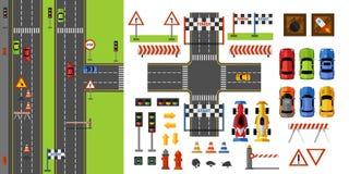 Δρόμοι πόλεων και τοπ άποψη κυκλοφορίας με τα οδικά σημάδια, τα στοιχεία παιχνιδιών μεταφορών και αγώνα Οδικός κατασκευαστής στο  ελεύθερη απεικόνιση δικαιώματος