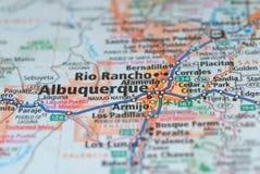 Δρόμοι στο χάρτη γύρω από την πόλη του Αλμπικέρκη, ΗΠΑ στοκ φωτογραφία
