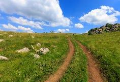 Δρόμος αποτελμάτωσης πέρα από το λιβάδι βουνών Στοκ Εικόνα