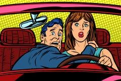 Δρόμος αυτοκινήτων ατυχήματος Αστείος οδηγός ανδρών και γυναικών διανυσματική απεικόνιση