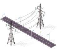 Δρόμος για τα αυτοκίνητα που διασχίζονται από τις γραμμές υψηλής τάσης, λαμπτήρες οδών Διατομή υποδομής ελεύθερη απεικόνιση δικαιώματος