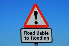 Δρόμος εκτεθειμένος στην πλημμύρα του σημαδιού στοκ εικόνες με δικαίωμα ελεύθερης χρήσης