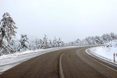 Δρόμος και χιόνι Στοκ Εικόνες