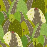 Δρόμος μέσω του πράσινου αστικού υποβάθρου σχεδίων seamles λόφων διανυσματικού doodle διανυσματική απεικόνιση