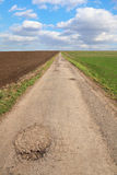 Δρόμος μεταξύ δύο πεδίων Στοκ εικόνες με δικαίωμα ελεύθερης χρήσης