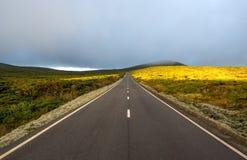 Δρόμος μεταξύ των λόφων με τα σύννεφα και τον ήλιο (Αζόρες) στοκ φωτογραφία