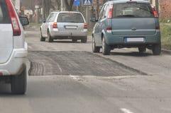 Δρόμος με τις λακκούβες Στοκ Φωτογραφίες