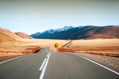 Δρόμος με το κίτρινο δέντρο στα βουνά φθινοπώρου Altai, Σιβηρία, Ρωσία στοκ φωτογραφίες