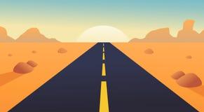 Δρόμος με το τοπίο, τα βουνά και την ηλιοφάνεια ερήμων Στοκ Φωτογραφίες