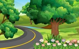 δρόμος πάρκων φθινοπώρου κίτρινος απεικόνιση αποθεμάτων